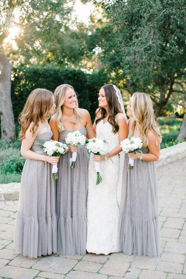 light grey tulle bridesmaid dress trend, full skirt playful bridesmaid dress