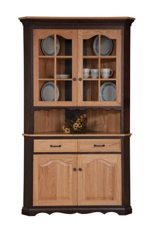 amish 2 door corner hutch dining room - Dining Room Corner Hutch