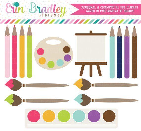 Painting Clip Art Commercial Use Clipart Art Supplies Paints Etsy In 2021 Clip Art Party Clipart Paint Party