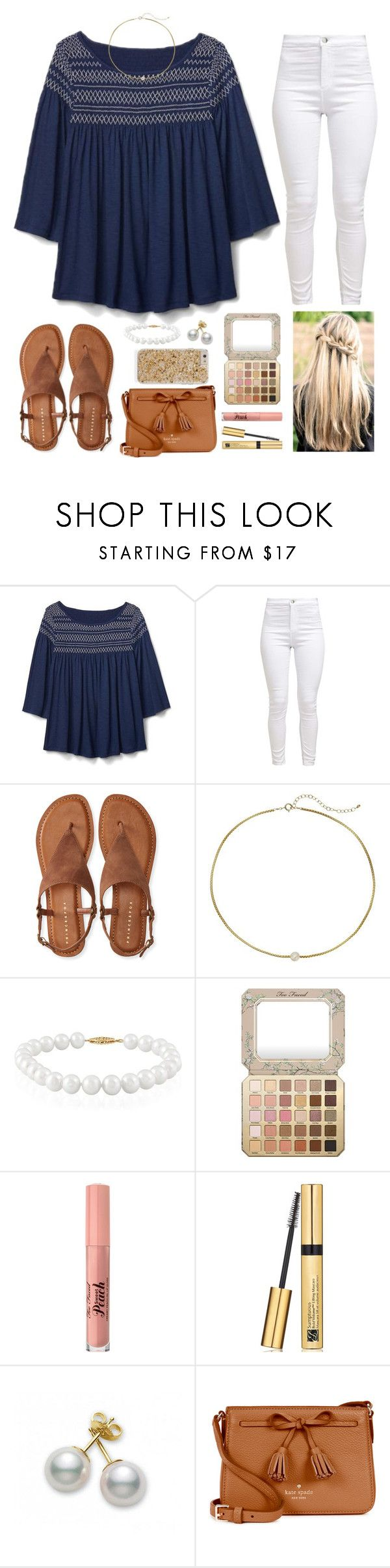 """church ootd"" by smaryb ❤ liked on Polyvore featuring Gap, Aéropostale, Dogeared, Belk & Co., Too Faced Cosmetics, Estée Lauder, Mikimoto and Kate Spade"