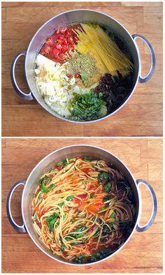 Veganotic: těstoviny s omáčkou z jednoho hrnce