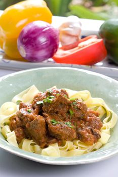 Ostrich Goulash with Homemade Tomato Sauce