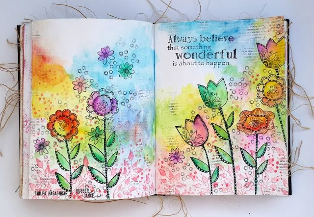 * Rubber Dance Blog *: Art Journal page with Crazy Flower Stamps