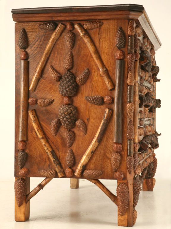 Attractive C.1880 Rustic Antique French Mountain Region Pine Cone Commode