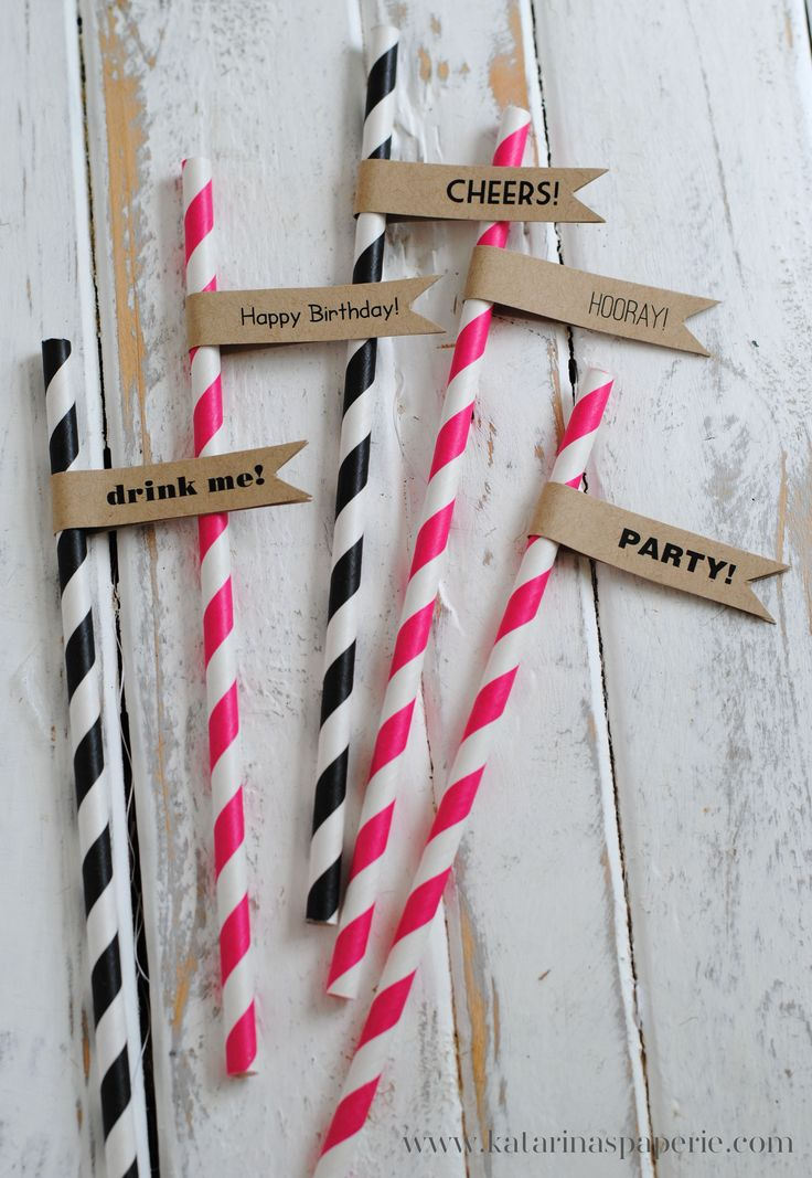 "Free Printables: Straw Flags for Every Occasion. ""Cheers"" ""Party"" ""drink me"" ""bride to be"" ""hip hooray"""