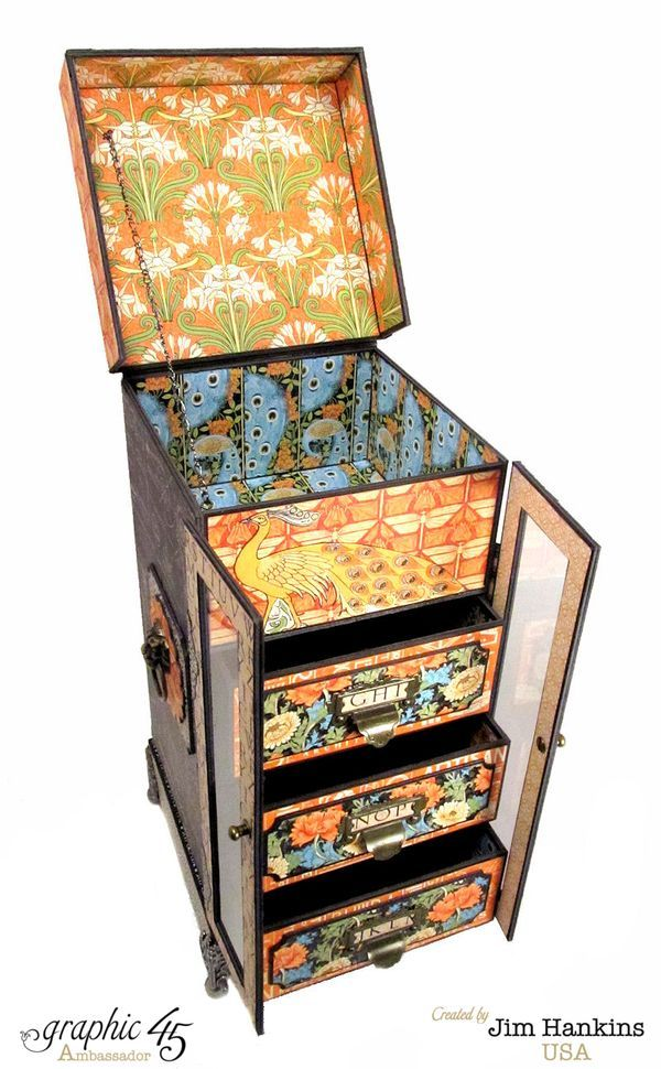 Love how this amazing altered cabinet opens! By: Jim, the Gentleman Crafter using Artisan Style #Graphic45
