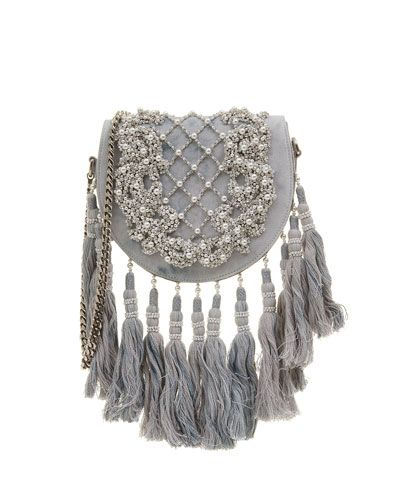 BALMAIN BEADED TASSEL-TRIM FLAP SHOULDER BAG. #balmain #bags #shoulder bags #denim #cotton #