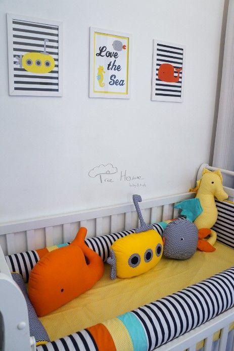 Kit de berço fundo do mar Almofadas Toy baleia, submarino, peixinho, cavalo-marinho. Quadrinhos personalizados - Tree House Baby & Kids