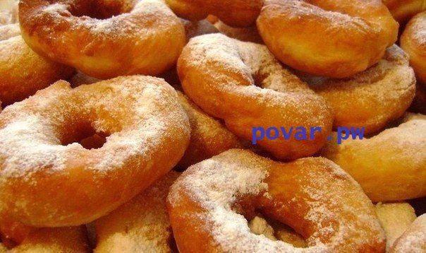 Наивкуснейшие пончики  Ингредиенты:  -Кефир 250 мл.  -Яйцо 1 шт.  -Сахар по вкусу – я добавляла 5 ст.л.  -Соль щепотка  -Сода 1/2 ч.л.  -Растительное масло 3 ст.л  -Мука 2,5-3 ст.  -Растительное масло для жарки  -Сахарная пудра для присыпки   Приготовление:   Кефир соединить с яйцом, сахаром и солью, все тщательно перемешать.  Теперь высыпать в массу соду и добавить растительное масло.  Добавить просеянную муку и замесить тесто. Тесто должно получится гладким, отлипать от рук.  Тесто…