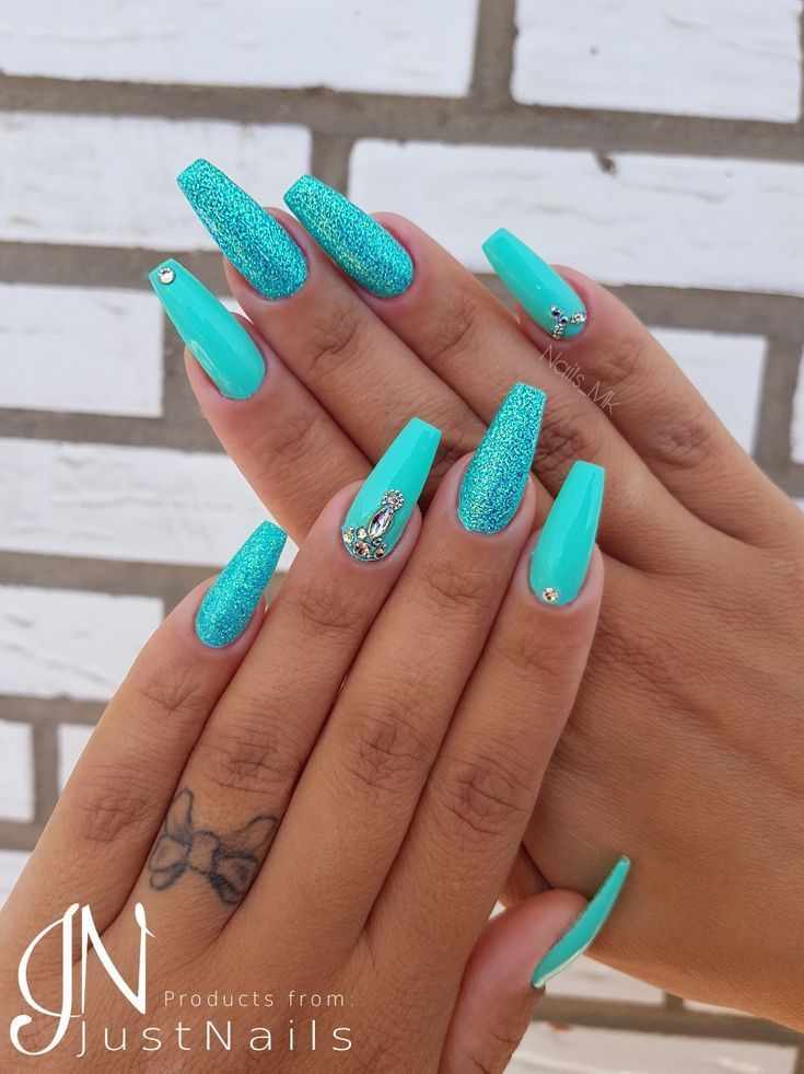 Turkise Sommer Nagel Summer Nails Today Pin In 2020 Turquoise Nails Summer Acrylic Nails Summer Nails