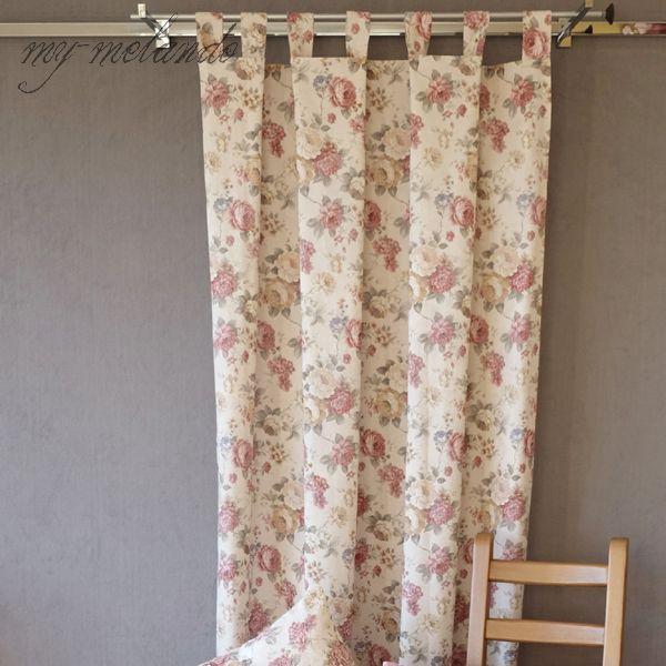 Ihr Online-Shop für exklusive Accessoires, Geschenkideen und Wohnraumdekoration.-Schlaufenschal Vorhang 140x245 Jacquard creme-beige-bunt mit Rosenmotiv Landhausstil
