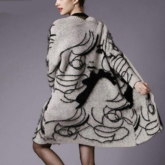 安い新しい2016秋冬ウサギの毛混紡ニットカーディガン女性プリントジャンパーセーター厚いカーディガンコート特大、購入品質カーディガン、直接中国のサプライヤーから:長さ88袖37バスト96肩50
