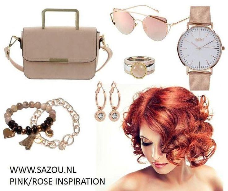Rose-Pink Inspiration. www.sazou.nl #IKKI #AZone #SazouJewels #OhlalaJewels #Yehwang #Horloges #Tas #Armbanden #Oorbellen #Zonnebril #Bracelet #Watches #Earrings #Sunglasses #Handbag