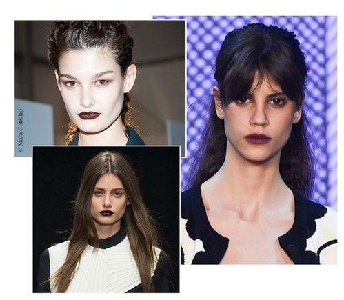 Bouche dark http://www.vogue.fr/beaute/tendance-des-podiums/diaporama/fwah2015-les-12-tendances-maquillage-de-la-fashion-week-automne-hiver-2015-2016/19615/carrousel#teint-over-tan
