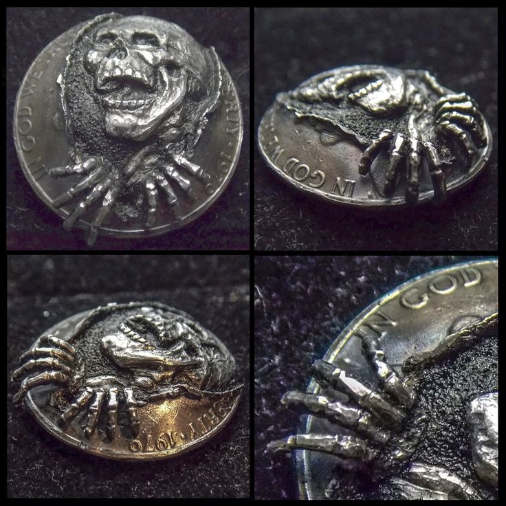 ROBERT MORRIS HOBO NICKEL - HOBO SKULL - DOMED CONCEPT COIN WITH ADDED METAL AND 18k GOLD INLAY - 1979 JEFFERSON NICKEL