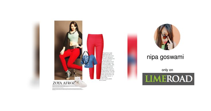 'Zoya Afroz' by me on Limeroad featuring Solids Blue Tops, Red Jeggings with Black Necklaces