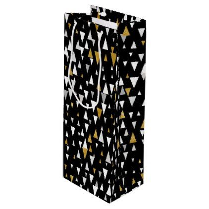 Triangle Modern Art - Black Gold Wine Gift Bag - home gifts ideas decor special unique custom individual customized individualized