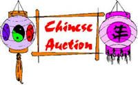 """Chinese Auction Fundraiser. It is not clear where the phrase """"Chinese Auction"""" came from, but it is a wildly popular form of fundraising that is simple to put in place, extremely profitable and a lot of fun! A Chinese Auction is an event at which you bid for items with small tickets that have a predetermined dollar value.  The tickets typically come 25 per card and are perforated for easy separation."""