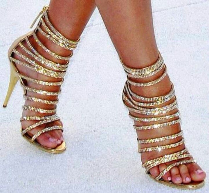 Sparkly Gold Strappy Heels.