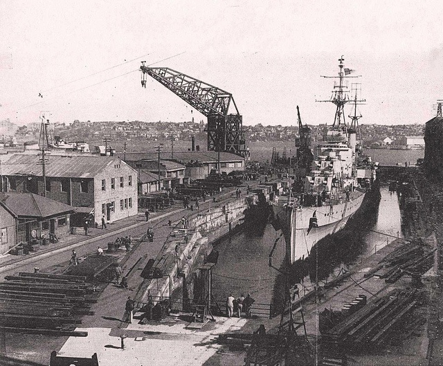 Aug. 26 1943-1944: HOBART [I] in the Sutherland Dock at Cockatoo Island - HMAS CERBERUS Museum. | Flickr - Photo Sharing!