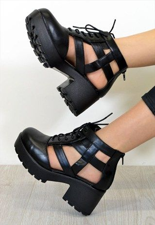 SKYLAR Chunky Heel Biker Style Cut Out Ankle Boots in Black