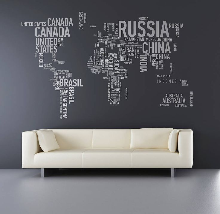 One worldWall Art, World Maps Wall, Offices, Foreign Exchange, Interiors, Wall Decals, Home Decor, Wall Stickers, Design