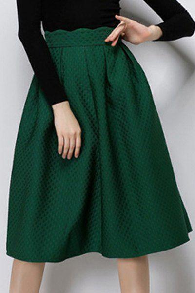 Vintage Solid Color High Waist A-Line Skirt For Women