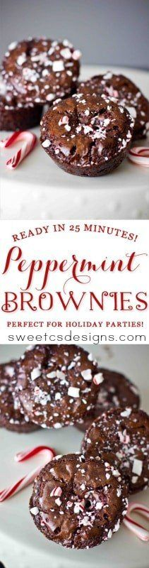 Peppermint brownies- these are so easy to make and so delicious! Like peppermint cocoa in brownie form!