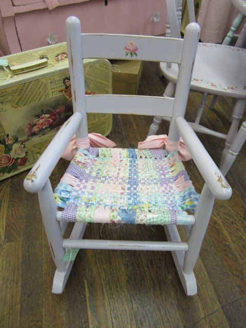 Hand Painted Child Children Rocking Chair Distressed