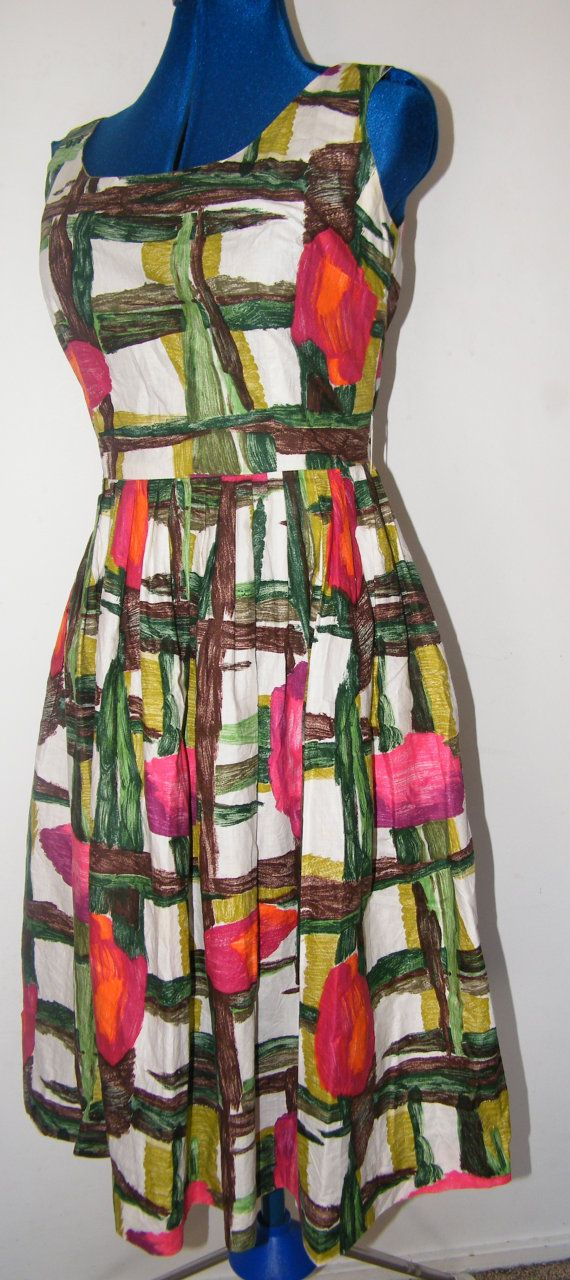 Vintage 1950's Day Dress with painterly floral print