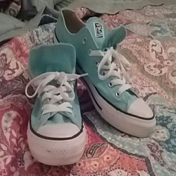 Converse Double Tongued Light blue ( turquoise I guess you'd say? )  Converse, double tongued. I've only wore them twice and I don't much care for them having the double tongue. Hardly any wear on the bottoms and minimal scuff marks on the fronts. Converse Shoes Sneakers
