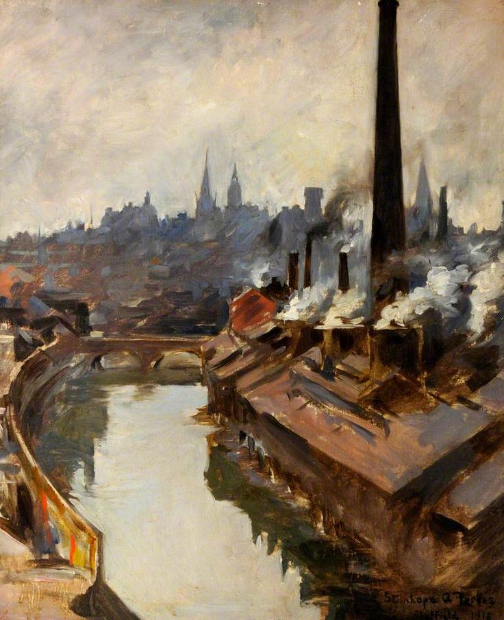 Stanhope Forbes - Sheffield, River and Smoking Chimneys