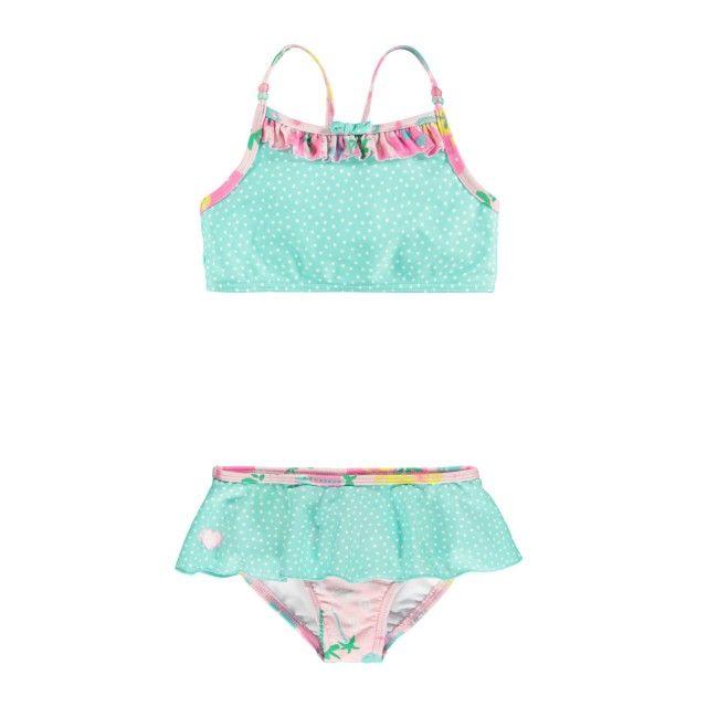 Contrast Ruffle Bikini / Bikini à volants contrastants Bleu à motifs Souris Mini