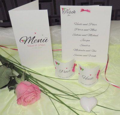 """Hochzeitskarten """"Herzle"""" in grün und pink"""