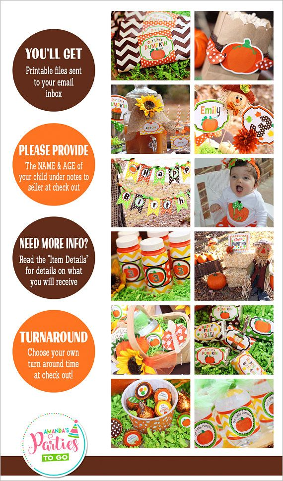 Pumpkin Patch Party Decorations (Printable Set) ON SALE now $19.99! ❚❚❚❚❚❚❚❚❚❚❚❚❚❚❚❚❚❚❚❚❚❚❚❚❚❚❚❚❚ WHAT YOU ARE PURCHASING: ❚❚❚❚❚❚❚❚❚❚❚❚❚❚❚❚❚❚❚❚❚❚❚❚❚❚❚❚❚ ►My Little Pumpkin Party (Printable) Decorations -- ON SALE NOW -- Only $19.99!! Such a fun party theme for your little ones Fall Birthday party! With patterns of chevron and dots in orange, chocolate, yellow and green, you will love this bright and happy fall party set! ►Please include NAME & AGE under notes to seller at check out. ►PDF ...