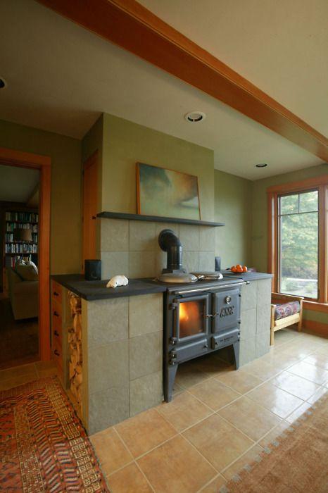 wood stove and wood storage