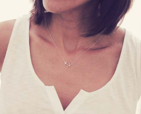 Sterling Silver Anchor Necklace / Sideways by DaintyLayersJewelry