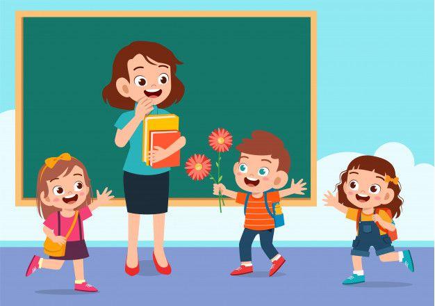 Happy Cute Kid Give Flower To Teacher Teachers Illustration Kids Clipart Cute Kids