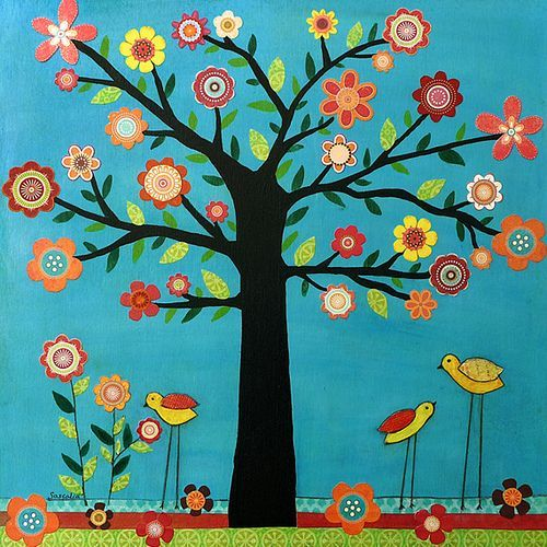 birds tree bulletin boards | Tree Flowers Birds Collage Art Painting - Sunshine by Sascalia