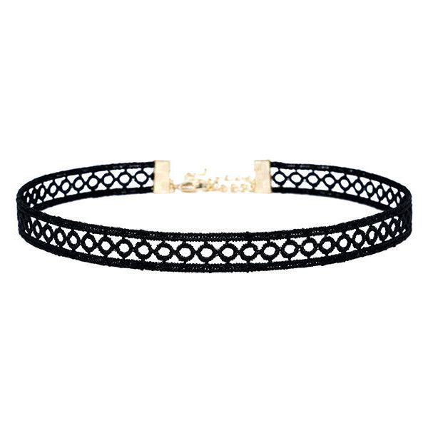Tricycle Race Black Lace Choker Necklace ($13) ❤ liked on Polyvore featuring jewelry, necklaces, black, long necklaces, circle necklace, lulu jewelry, long choker necklace and choker jewelry