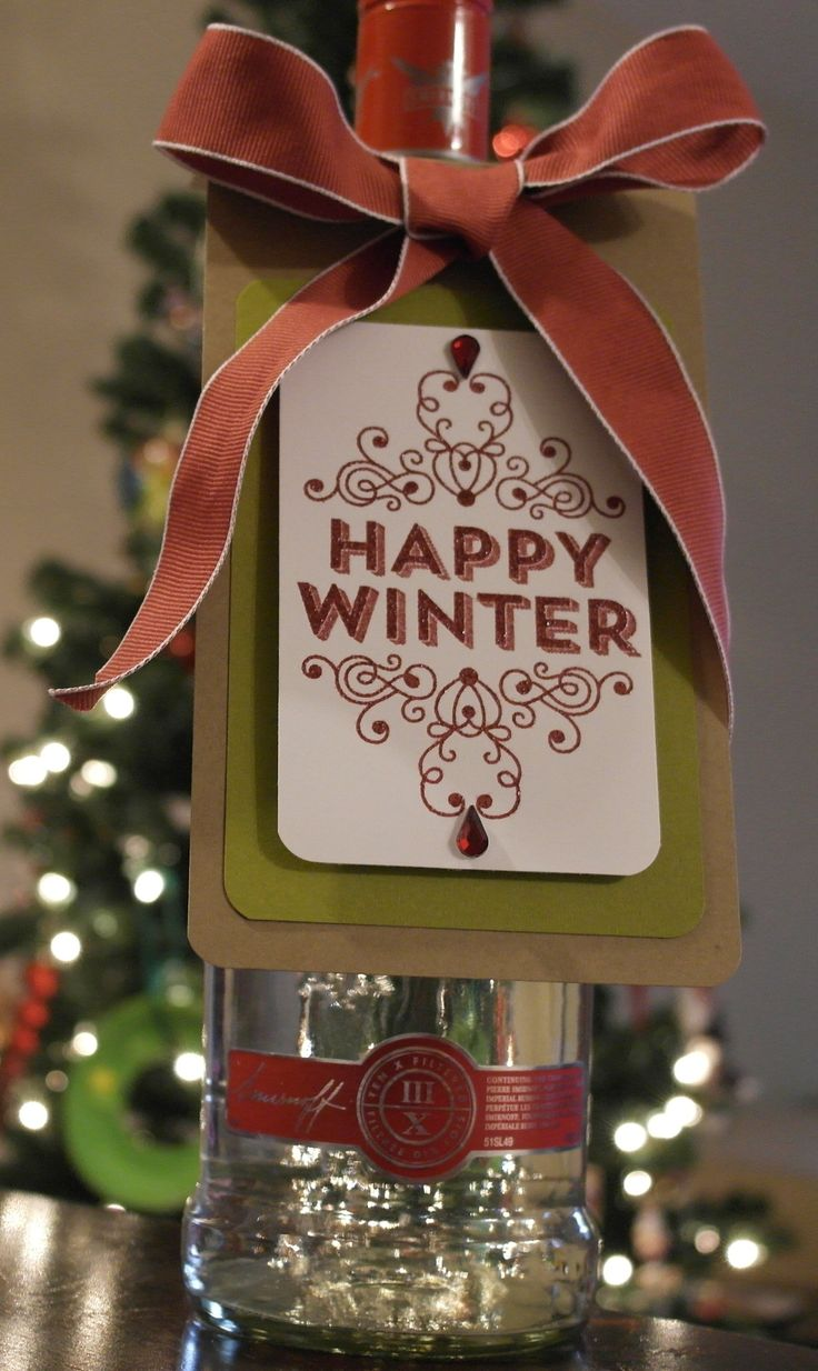 Bottle tag using the Happy Winter Stampin' Up! Stamp set