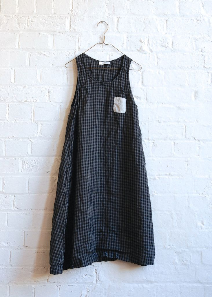 Vera A Line Dress - Charcoal Check