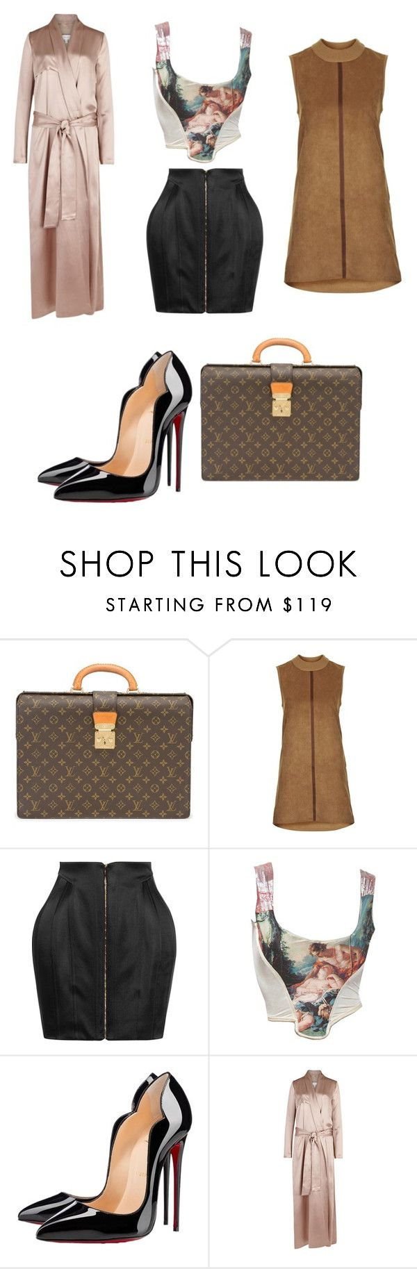 """Untitled #825"" by ednatchiwana ❤ liked on Polyvore featuring Louis Vuitton, Topshop, Balmain, Vivienne Westwood, Christian Louboutin and Galvan"
