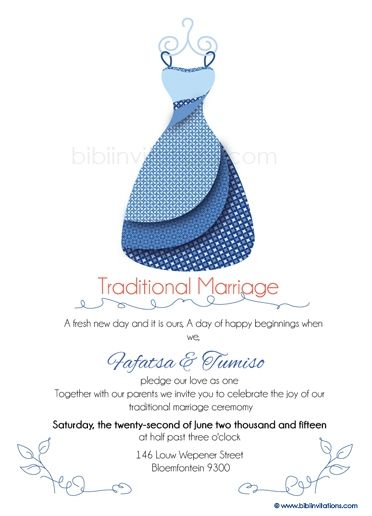 Leba la ka Sotho Traditional Wedding Invitation