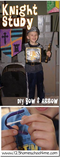 Homeschool Knight Study for Homeschool and Preschool and Mini bow & arrow craft!!