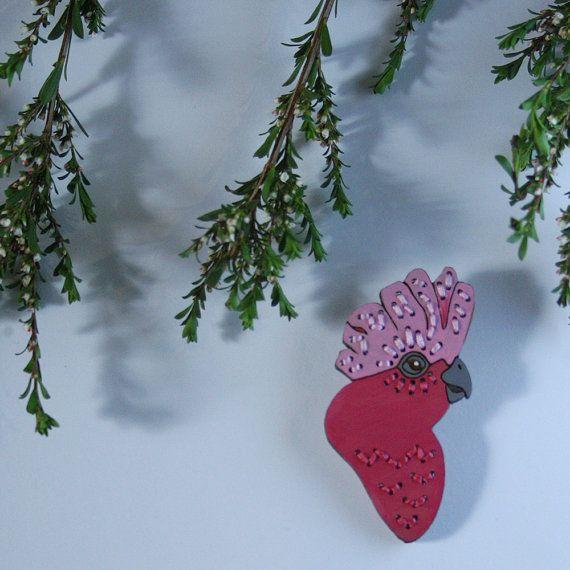 Galah Embroidered Birdie Wearable Art Brooch by WinnifredsDaughter