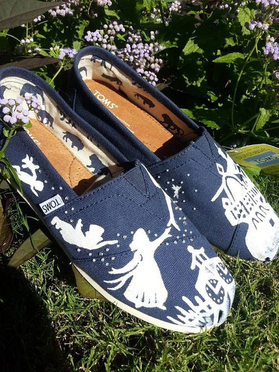 Ready to ship Peter Pan Disney Custom Toms Silhouette White Design Size 9.5 on Etsy, $95.00