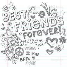 Hand Drawn Best Friends Forever Love U0026 Hearts Sketchy Back To School Style  Notebook Doodles Design Elements On Lined Sketchbook Paper Background   Vector ...