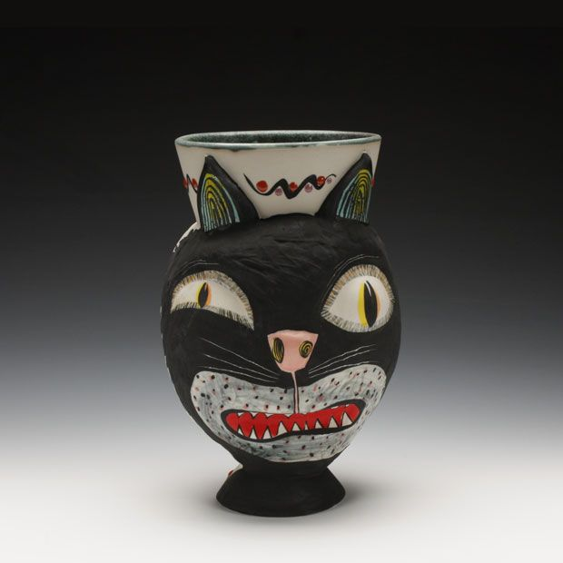 Michael CorneyCat A Tud, Cat Vases, Scarey Cat, Cups, Corney Scarey, Support Cerf, Corney Surface, Schaller Gallery, Michael Corney