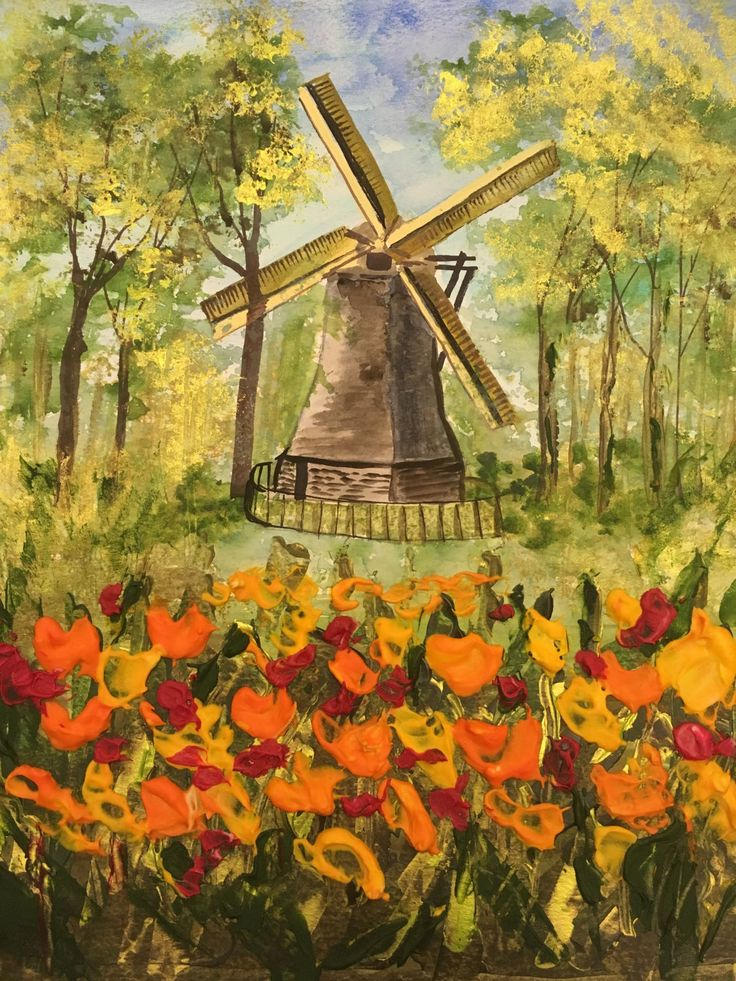 Tulips Around The Windmill by ChezPimmi on Etsy